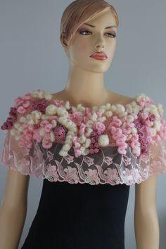 Sakura Blossom Unique Bohemian Freeform Crochet by levintovich Winter Wedding Shawl, Wedding Shrug, Bridal Shrug, Crochet Shawls And Wraps, Crochet Scarves, Crochet Cover Up, Knit Crochet, Chaleco Casual, Bridal Cover Up
