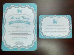 LOVED our Baby Shower invitations. Thanks you Jessica Bishop Paperie! http://www.etsy.com/shop/JessicaBishopPaperie