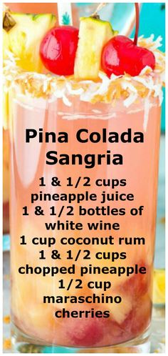 summer drinks Pina Colada Sangria ~ Super easy and tropical 5 ingredient pina colada sangria is a refreshing summer beverage! This boozy sangria punch makes enough to serve a crowd. Alcohol Drink Recipes, Sangria Recipes, Punch Recipes, Mixed Drinks Alcohol, Mix Drink Recipes, Salad Recipes, Wine Mixed Drinks, Keto Recipes, Fireball Recipes