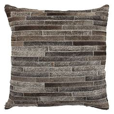 "Montara Hair on Hide 22"" Pillow in Chocolate/Charcoal"