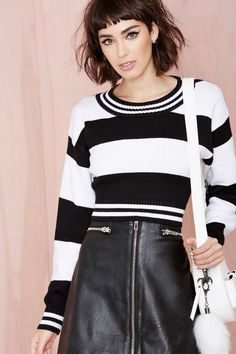 Parallel Crop Sweater #striped