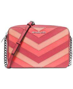 bb45a8176f610f Michael Kors Jet Set Travel Large Chevron East West Crossbody Pale Handbags  Online Shopping, Leather