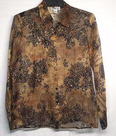 Robbie Bee Size 8 Silk Blouse Beaded Sequined Embellished Career Brown Black #RobbieBee #Blouse #Career