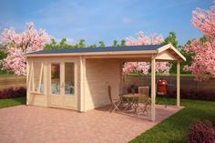 Gartenhaus mit Dachterrasse Nora D 9m² / 44mm / 3x3
