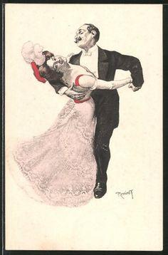 Künstler-AK Ferdinand von Reznicek: Tanzpaar in eleganter Abendgarderobe 0
