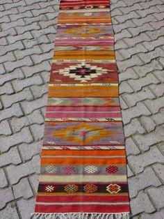 "BEAUTIFUL TURKISH ANTALYA KILIM RUG RUNNER 98,4"" X 22"""
