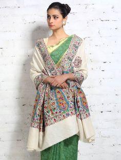 Kalamkari Hand Embroidered Palledar Extra Large Fine Pashmina Shawl