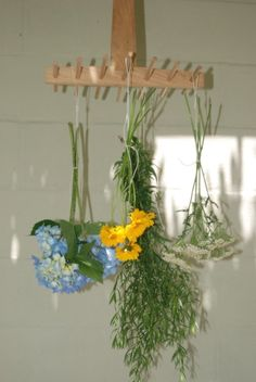 Herbs  Flowers Pasta MittensWooden Drying Rack by #pompompurses on #Etsy, $20.00