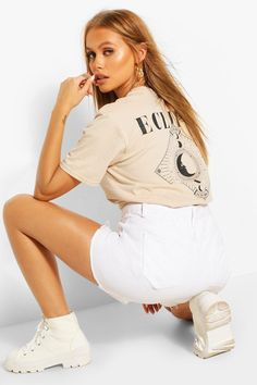 Womens Eclipse Back Print T-Shirt - Beige - Xl Eclipse T Shirt, Beige T Shirts, Beige Outfit, Slogan Making, Latest Tops, Shirt Print, Spring Street Style, Fashion Face Mask, Casual Tops