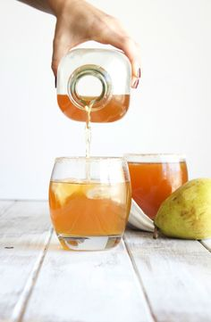 Enjoy the taste of fall with this simple spiced pear cocktail. - great photo and yummy sounding drink w/o a thousand ingredients