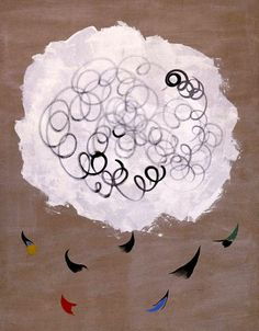 Joan Miró, Nuage et Oiseaux (Cloud and Birds) 1927 on ArtStack #joan-miro #art