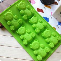 Кухня творческий аксессуары Diy кекс пекут 6 отверстий послушно медведь поделки мыло силиконовые пудинг / пекарня печенье / формы торт купить на AliExpress