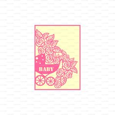 Newborn Card baby carriage buggy flowers lace от EasyCutPrintPD
