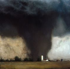 John Brosio - Oklahoma Twister, 2002 Painting: Oil on canvas. Landscape Artwork, Abstract Landscape, Wild Weather, Weather Art, Weather Storm, Sky And Clouds, Storm Clouds, Art For Art Sake, Beauty Art
