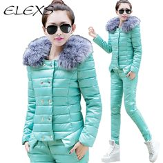 Elexs Autumn and Winter Thicken Warm Women Parkas Fur Hooded Women Winter Coats sets Two PCS TSP2537-in Down & Parkas from Women's Clothing & Accessories on Aliexpress.com | Alibaba Group US $47