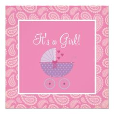 81 best baby shower invitation ideas for girls images on pinterest cute pink paisley girl baby shower invitation filmwisefo