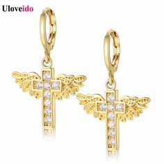 Find More Hoop Earrings Information about Uloveido Gold Plated Cross Wing Crystal Earrings with Stones Christian Hoop Earings Alloy Circle Earring for Women Brincos Y199,High Quality earring tape,China earrings zircon Suppliers, Cheap earring stopper from Uloveido Official Store on Aliexpress.com