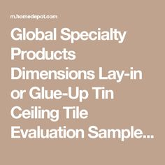 Global Specialty Products Dimensions Lay-in or Glue-Up Tin Ceiling Tile Evaluation Samples 001-01 at The Home Depot - Mobile