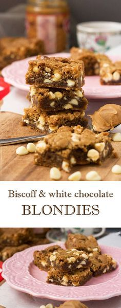 These Biscoff spread & white chocolate blondies taste like cookies and caramel! A perfect quick and easy baking treat, but don't say I didn't warn you! Gourmet Recipes, Sweet Recipes, Baking Recipes, Cake Recipes, Dessert Recipes, Desserts Menu, Dessert Ideas, Cake Ideas, Yummy Recipes