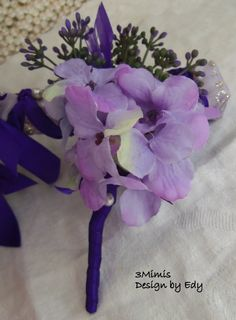 Boutonniere Lavender Purple Wedding Boutonniere