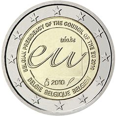 2 euro coin Belgian Presidency of the Council of the European Union in 2010 Piece Euro, Euro Coins, Commemorative Coins, World Coins, Interesting Information, Money Matters, Coin Collecting, Presidents, Charcuterie