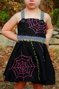 Adorable hand embroidered Toddler Witch Halloween Costume dress. $80.00, via Etsy.
