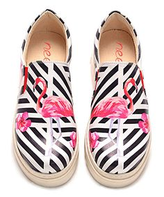 Love this Black & Pink Flamingo Slip-On Leather Sneaker on #zulily! #zulilyfinds