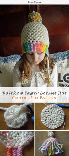 Rainbow Easter Bonnet Hat Crochet Free Pattern #freecrochetpatterns #easter #crochetpattern