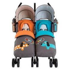 Twin Stroller Cosatto – version You 2 Striped Polka Dogs. Details at http://youzones.com/twin-stroller-cosatto-version-you-2-striped-polka-dogs/