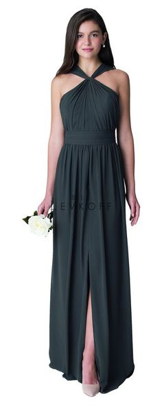 3f218f7e46d Bill Levkoff Bridesmaid style  1274. Chiffon gown with twist front straps  delicately draping at
