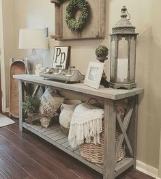 Living Room Decor   Rustic Farmhouse Style Grey Wood X Brace Console Table  With Baskets, Lantern Styling