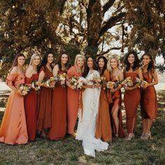Bridesmaid Dresses Different Colors, Mismatched Bridesmaid Dresses, Autumn Bridesmaid Dresses, Bridesmaid Ideas, Bridal Dresses, Autumn Wedding, Boho Wedding, Dream Wedding, Wedding Ideas