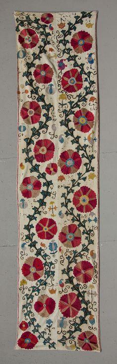 Uzbek Suzani Fragment 51 x 210 cm Turkish Art, Weaving Textiles, Indian Textiles, Ethnic Patterns, Ceramic Design, Rug Hooking, Applique Designs, Fabric Art, Oriental Rug