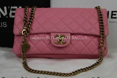 Chanel 85762 Classic Women Flag Shoulder Bag on metallic chains in Pink lambskin  Code: 85762 Color: Pink Dimension: 31*18*9CM With exterior zipped pocket on back Price: USD319 Inquiry: buy@ladybag.us #chanel   #chanelflapbag