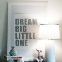 "Baby Nursery Wall Art Letterpress Print ""Dream Big Little One""-- Nursery Art, Wall Art, Kids Bedroom Art, Shower Gift, Baby Boy Nursery Art"