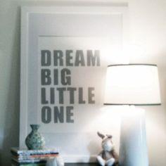 """Baby Nursery Wall Art Letterpress Print """"Dream Big Little One""""-- Nursery Art, Wall Art, Kids Bedroom Art, Shower Gift, Baby Boy Nursery Art"""