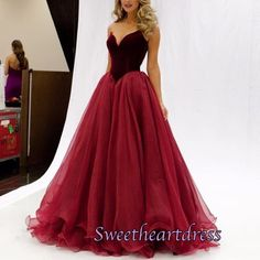 wine red sweetheart satin + tulle princess prom dress Prom Capelli Lunghi 72109bda68d8