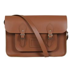 The Cambridge Satchel Company 15 Inch Leather Satchel - Vintage Tan ($99) ❤ liked on Polyvore featuring bags, handbags, tan leather purse, genuine leather handbags, brown leather satchel, leather purses and tan leather handbags