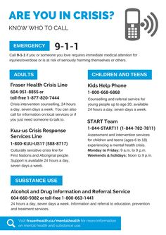 Know who to call when you're experiencing a mental health crisis.