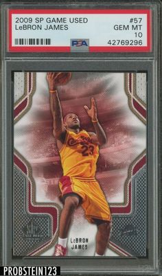 2009 SP Game Used #57 Lebron James Cleveland Cavaliers PSA 10 #LeBronJames #PSA10 #sportscards Lebron James Rookie Card, Lebron James Cleveland, Basketball Cards, Upper Deck, Michael Jordan, Cavalier, Pop, Game, Popular