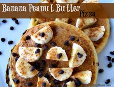 Banana Peanut Butter Pizza is an easy breakfast recipe! The Kids LOVE this! #recipe #summer #easy