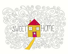 Sweet Home Illustration Print, Hand Drawn House Line Drawing, Yellow, Black and White, A4 8x10, House Warming, New Home