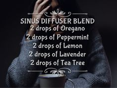Sinuses got you feeling miserable? Try this great blend of essential oils in your diffuser to help open and ease sinuses and get you feeling like yourself again! Essential Oil Carrier Oils, Essential Oils For Pain, Essential Oils Guide, Essential Oil Diffuser Blends, Essential Oil Uses, Doterra Essential Oils, Helichrysum Essential Oil, Oregano Essential Oil, Oregano Oil