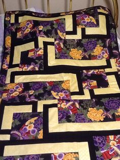 BQ4 pattern by Debbie Bowles, Maple Island Quilt Pattern using large Asian print, so easy