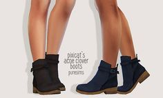"puresims: "" pixicat's acne clover boots • 3t4 conversion / works with sliders / 9 swatches / original mesh by @pixicat this is the first time i convert a piece of clothing so if you find any problems..."