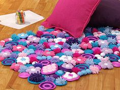 DIY kids room carpet, made of fleece, wool and other soft materials. :-) cute