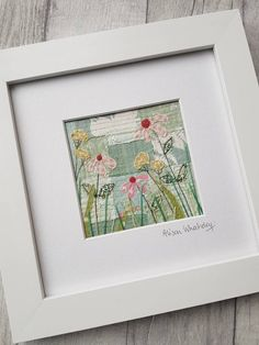 This piece of original textile art depicting echinacea flowers has been handmade by me, and gives you a truly unique piece of my work for your home or to give as a gift. To make this textile picture Ive used appliqué and a technique called free motion machine embroidery which is