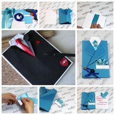 Traje y corbata Tarjeta para el día de padres F Traje DIY maravilloso y tarjeta lazo para el día del padre