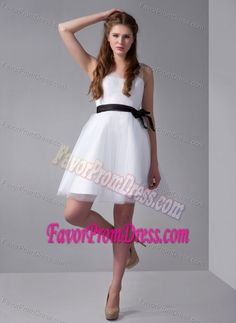 Buy sheer straps mini length white tulle and taffeta homecoming dress with  black sash from white homecoming dresses collection 4b43d5e9023b