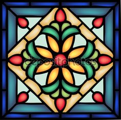 Gothic ornament  with flower in stained window — стоковая иллюстрация #82370458